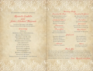 Ceremony Program for Destination Wedding